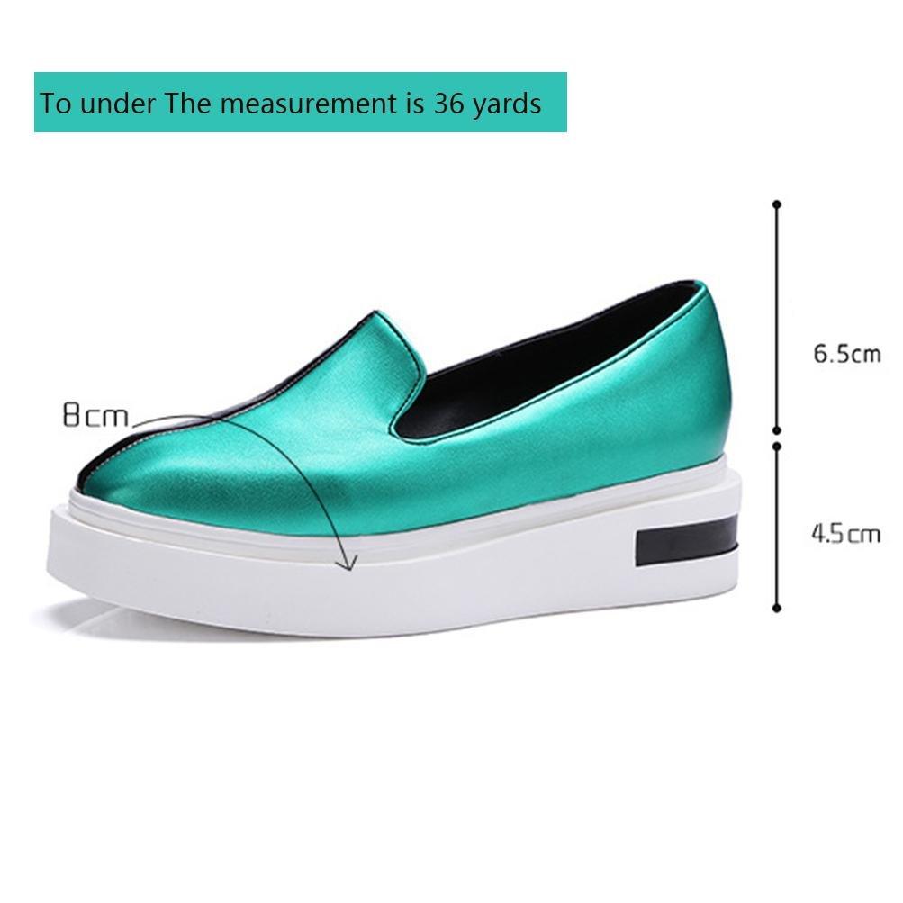 QPYC Las señoras de las mujeres Square Head Lazy People Shose zapatos de cuero de patente de la PU Female Gold Green Thick Bottom Shoe , green , 35