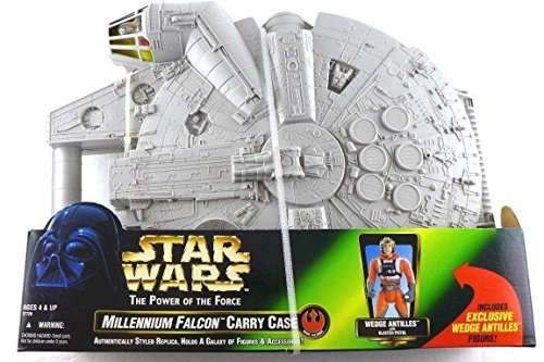 STAR WARS MILLENNIUM FALCON CARRY CASE WITH WEDGE ANTILLES ACTION FIGURES (Wars Case Star Figure)