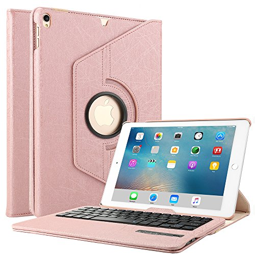 Boriyuan iPad Case with Keyboard for Pro 10.5, 360 Degree Rotating Stand PU Leather Smart Cover with Detachable Wireless Keyboard for Apple New iPad Pro 10.5 inch 2017 (A1701/A1709) - Rose Gold