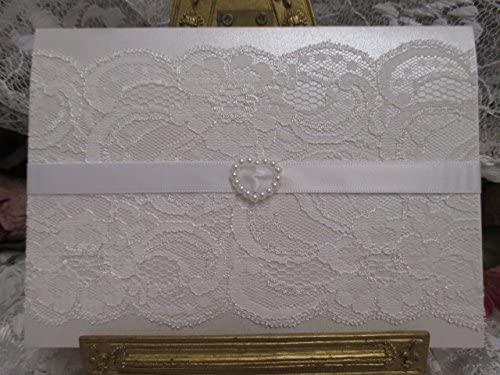Vintage Tarjetas De Boda Encaje S0500w A6 Encaje Blanco