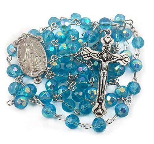 Catholic Rosary Light Blue Crystal Beads Necklace Turquoise Rosary With Miraculous Medal & (Crystal Rosary Cross)