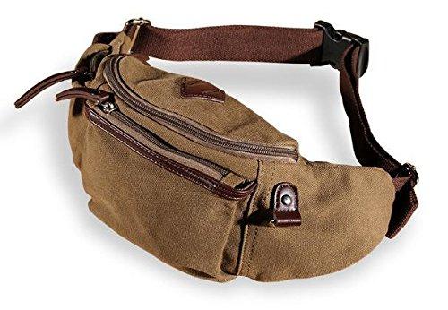 [해외]고밀도 교정. 허리 파우치. 가방. 강건한 데님 돛 피복 및 가죽 (브라운) / High density campus area. Waist Pouch bag. Sturdy denim canvas & Leather (Brown)