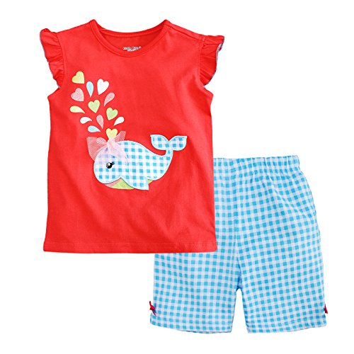 Jobakids Little Girls Short Set Summer Cotton Clothing set (6T, (Butterfly Short Sleeve Shorts)