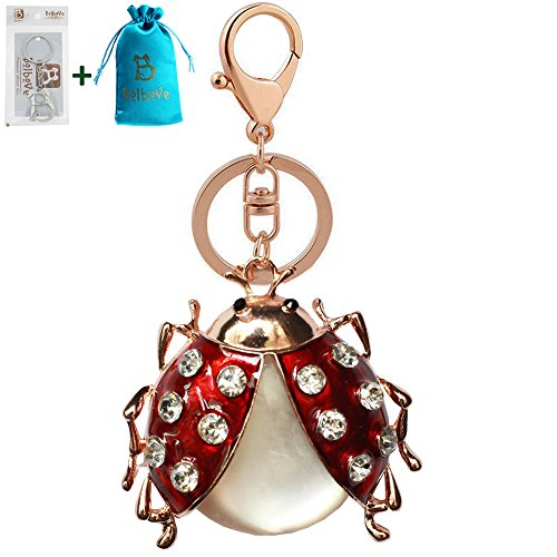 Bolbove Cute Opal Ladybug Keychain Sparkling Keyring Rhinestones Purse Pendant Handbag Charm (Dark Red)