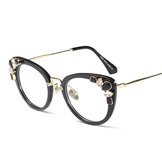 b96ad03d2c Rhinestone Eyeglasses Ladies Luxury Sexy Cat Eye Eyewear Frames Women  Decoration (black frame)