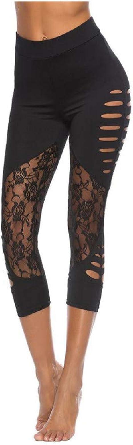 nonbranded Leggings de mujer sexy encaje hueco costura yoga ...