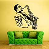 Wall Decal Vinyl Sticker Decals Sax Saxophone Musican Jazz Man Music (Z1468)