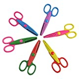 Balepha 6pc Paper Craft Scissors for Kids Toddler 6 Colours 6 Patterns
