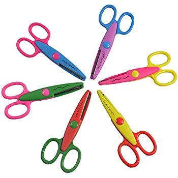Balepha Assorted Colors Crafting Paper DIY Craft Scrapbooking Supplies Scissors Decorative Edge Scissors for Teachers Kids Toddler Safety 6 Patterns 6 Pack