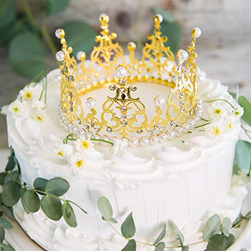 AVAFORT Crown Tiara Cake Topper Crystal Pearl Children Hair Ornaments for Wedding Birthday Party Cake Decoration, Royal Birthday Party Cake Decoration For Babies, Kids, Wedding Cente (Gold Crown 5.5