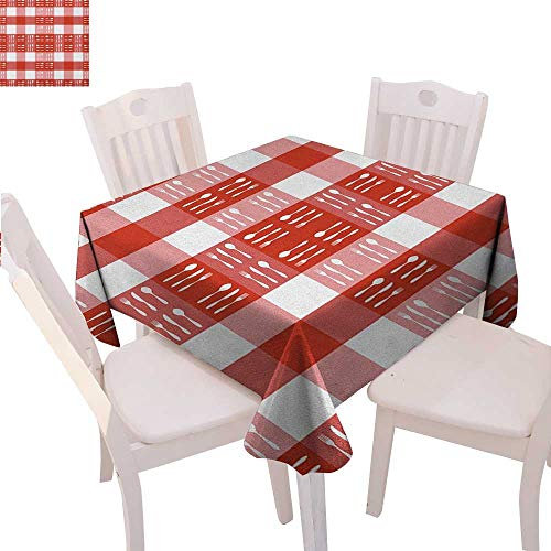 (BlountDecor Checkered Printed Tablecloth Cutlery Silhouettes on Squares Dining Picnic Tile Spoons Forks Knives Flannel Tablecloth 50