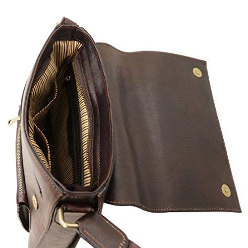 Bolso Hombre En Tuscany negro Tl141656 Delantero Piel Bolsillo Marrón Leather Oliver Para Oscuro Con AUxxZRq