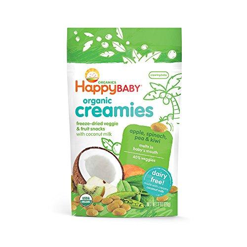 Happy Baby Organic Creamies Freeze-Dried Veggie & Fruit Snacks with Coconut Milk Apple Spinach Pea & Kiwi, 1 Ounce Bag Dairy Free Baby or Toddler Snacks, Organic Non-GMO Gluten Free Kosher