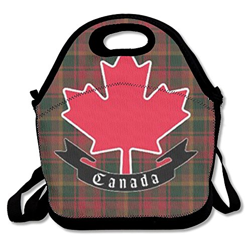 Canada Maple Leaf Tartan Lunch Bag Lunch Tote Bag Travel School Picnic Lunch Box For Men & Women & Kids