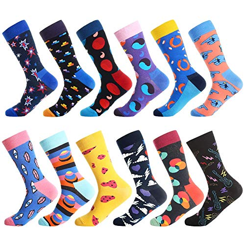 Dress Socks for Men & Women,Colorful Funny Crazy Novelty Fun Dress Socks Pack by Bonangel,Cool Pattern Crew Socks With Gift Box(Star 1)  Price: $28.99