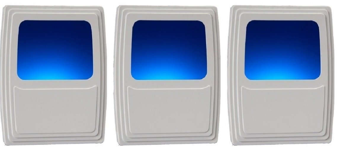 Bathroom Hallway Ideal for the Bedroom 3 Pack White Finish Stairs or any Dark Room Amerelle 71083 Always-On Cool Blue Glow Energy Efficient Kitchen Westek Plug-In Forever-Glo LED Night Light