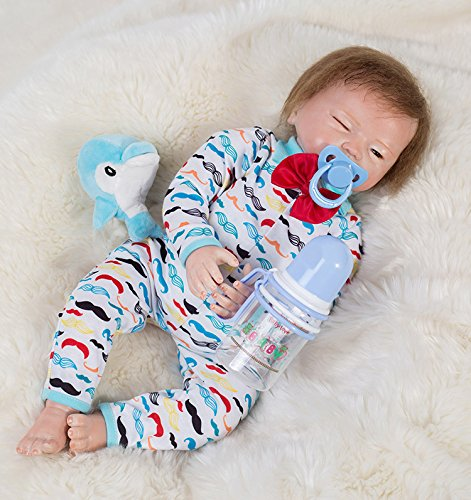 XiangLong 18'' 48 CM Silicone Baby Reborn Toddlers Reborn Dolls Reborn Babies Real Life Dolls Toddler Reborn Sleeping Baby Doll