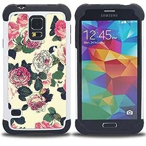 For Samsung Galaxy S5 I9600 G9009 G9008V - flowers wallpaper pink green beige Dual Layer caso de Shell HUELGA Impacto pata de cabra con im??genes gr??ficas Steam - Funny Shop -