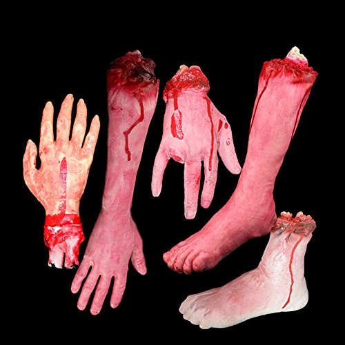 Dealglad® 5pcs/set Horror Bloody Realistic Prosthetic Fake Severed Arm Broken Hand Foot Prank Trick April Fool Halloween Party Props ()