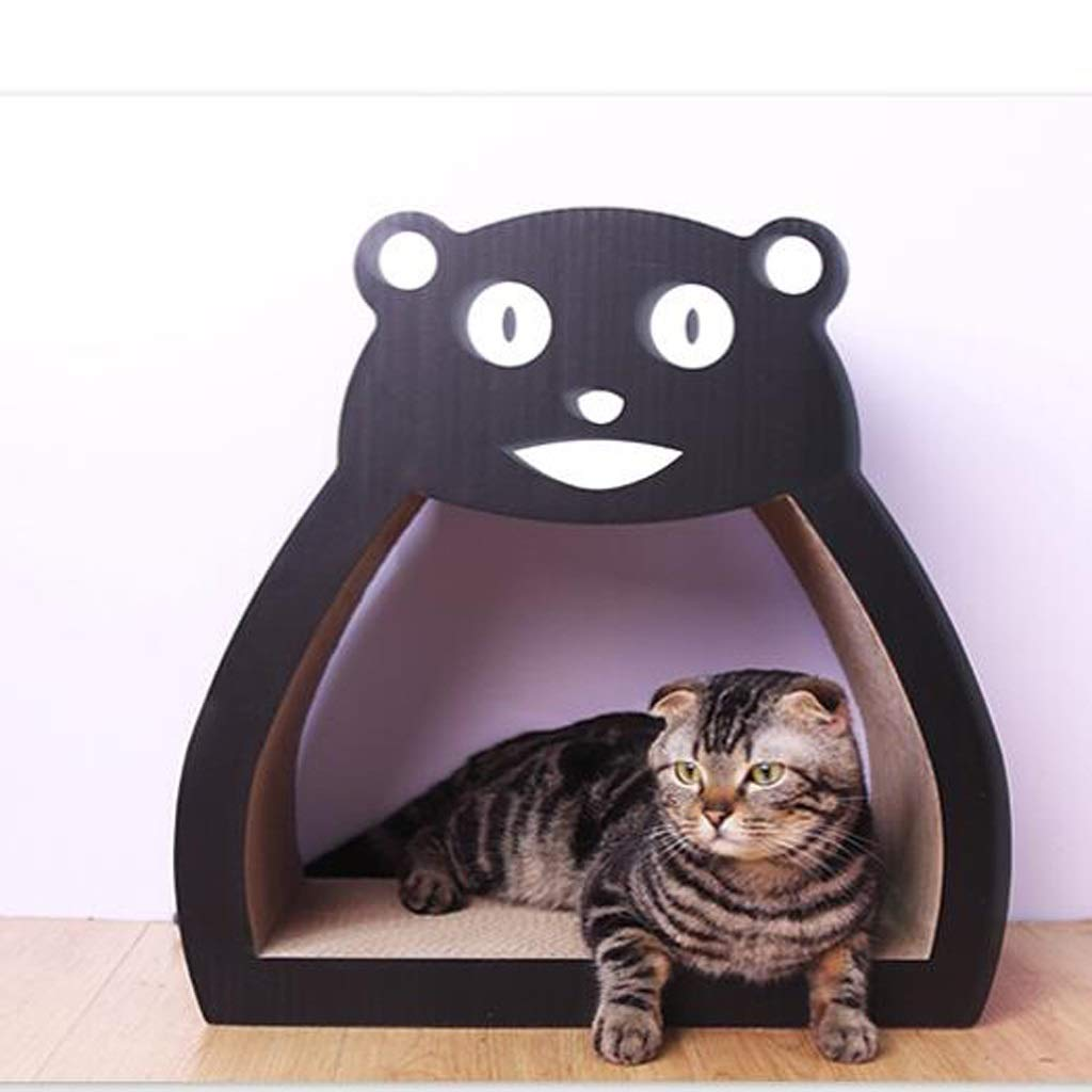 KGMYGS Cat Scratch Board Cat Sofa Cat Toy Three In One, Corrugated Material, Black, Cute Bear Shape Pet bed