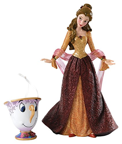Enesco Disney Showcase Beauty and the Beast Christmas Belle Figurine and Chip Ornament]()