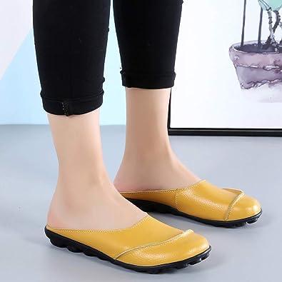 Hishoes Confort Mules Cuir Sandales Sabots Femme /à Enfiler Chaussures Dames Slip on Mocassin Compens/ées Plate Chaussons /Ét/é Fille Pantoufles