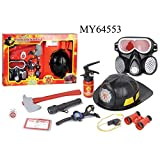 ETbotu 9 PCS Firefighter Role-Playing Toys Fire Extinguisher Gas Mask Firefighters Badge Set for Children Red