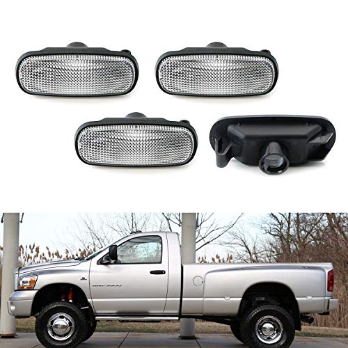 iJDMTOY Clear Lens Amber/Red LED Trunk Bed Marker Lights Set For 2003-09 Dodge RAM 2500HD 3500HD Dually Truck Double Wheel Side Fenders, Powered by Total 20 LED