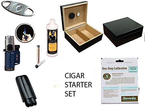 50 ct Deep Black 50 Cigar Humidor Gift / Starter set: Cutters Lighter Holder 50 Count Cigar Humidor