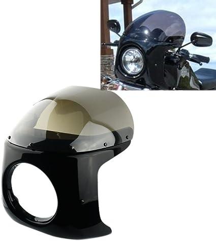 Krator Motorcycle 7 Headlight Fairing Screen Black /& Clear Retro Cafe Racer Bobber Drag Viper Windshield