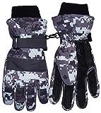N'Ice Caps Boys Cold Weather Waterproof Camo Print Ski Gloves (10-12 Years, Digital Camo)