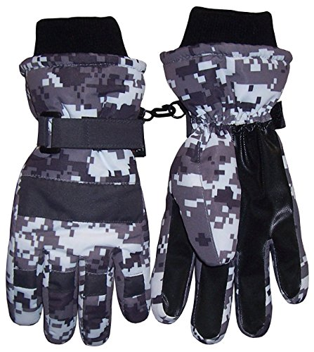 N'Ice Caps Boys Cold Weather Waterproof Camo Print Ski Gloves (8-10 Years, Digital Camo) Youth Kids Glove