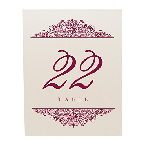 Documents and Designs Paisley Table Numbers, Champagne, Burgundy, 1-10 by Documents and Designs (Image #2)