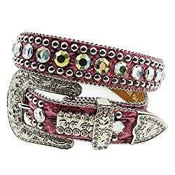 Genuine Leather Cowgirl Belts With Rhinestone Crystals