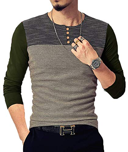 Neoyowo Mens Patchwork Shirt Long Sleeve Contrast Color T-Shirt Casual Stitching Buttons Henley Tops (Army Green, S)