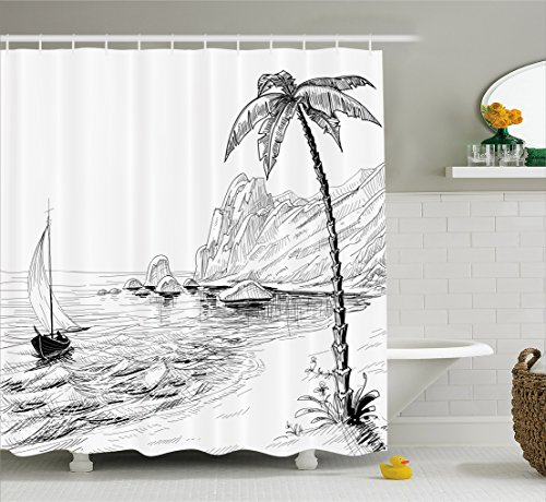 Ambesonne Black and White Decorations Shower Curtain, Sea Coast Beach with Palm Tree Boat and Hills Exotic Holiday, Fabric Bathroom Decor Set with Hooks, 70 Inches, Black (Black Hills Tree)