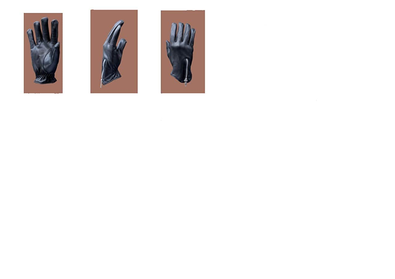 Black Large Fashion Glove Men Aniline Cowhide Leather Glove with Back Zip