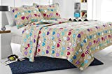 Web Linens Inc 2pc Beige Love Hearts Quilt Set - Style # 1019 - Twin/Twin XL - Cherry Hill Collection