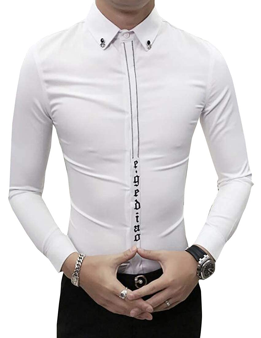 BYWX Men Long Sleeve Regular Fit Club Fashion Embroidery Button Down Blouse Shirt