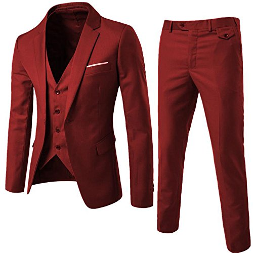 WULFUL Men's Suit Slim Fit One Button 3-Piece Suit Blazer Dress Business Wedding Party Jacket Vest & Pants Wine Red