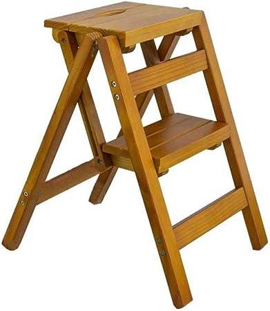 Taburete plegable de tres niveles con escalera de doble uso, escalera pequeña de madera para el hogar, escalera multifunción para estante de flores, escalera de contracción de madera maciza.: Amazon.es: Bricolaje y