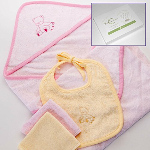 Baby Gift Set. Bamboo Fabric Bath Set. Hooded Towel, Washcloths (2), and Baby Bib. Silky Soft, Naturally Antibacterial, Organic, Hypoallergenic, Most Absorbent, Organic, Durable & Sustainable.