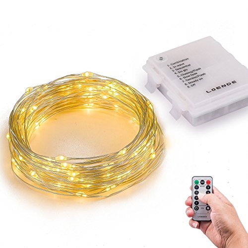 Indoor Starry String Lights, Loende 34.45ft 100 LED 4AA Flexible Silver Battery Operated(Not Included) Waterproof Warm White Fairy Light With Remote & Timer for Home,Bedroom, Living Room