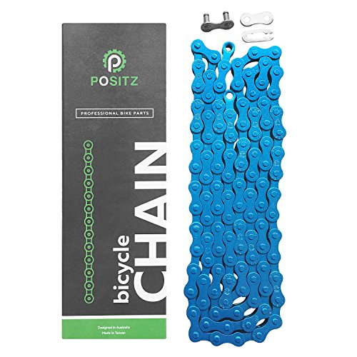 Positz Single Speed Bicycle Color Chain for Fixie, City, Urban, Crusier and BMX Bikes (Blue) (Kool Chain)