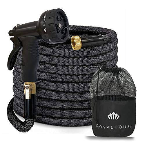 RoyalHouse 100 FT Black Expandable Garden Hose Water Hose with 9-Function High-Pressure Spray Nozzle, Heavy Duty Flexible Hose – 3/4″ Solid Brass Fittings Leak Proof Design