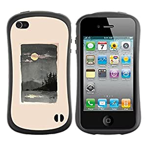 Fuerte Suave TPU GEL Caso Carcasa de Protección Funda para Apple Iphone 4 / 4S / Business Style Moon Sea Nature Painting Waves