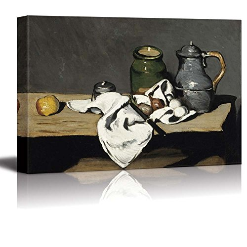 Wall26 - Still Life with Kettle by Paul Cezanne - Canvas Print Wall Art Famous Painting Reproduction - 24