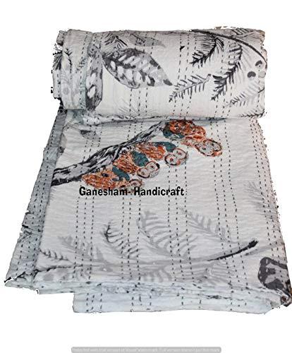 インド ヒッピー ジプシー ホームデコ ラグジュアリー フラット ボーホー 寝具 ボヘミアン ベッドスプレッド ビンテージ キングサイズ カンタキルト スローブランケット (90x108インチ) B07GX2M281