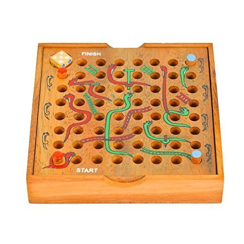 Brain Games Wooden Snake And Ladder Board Game