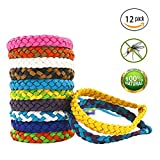 Maxtry 12 Pack Mosquito Bracelet Insect Repellent Adjustable Waterproof Natural Bug Repellent Band